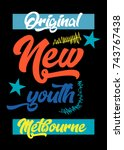 melbourne new youth t shirt... | Shutterstock .eps vector #743767438