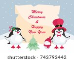 christmas greeting card with... | Shutterstock .eps vector #743793442
