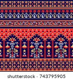 traditional indian paisley... | Shutterstock . vector #743795905