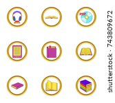 online book icons set. cartoon...