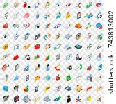 100 network icons set in...