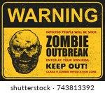 poster zombie outbreak. sign... | Shutterstock .eps vector #743813392