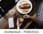 a good coffee lunch | Shutterstock . vector #743825212