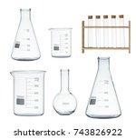 laboratory glassware set... | Shutterstock . vector #743826922
