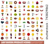 100 tavern product icons set in ... | Shutterstock . vector #743829862