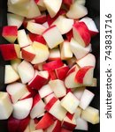 red apples dice into pieces for ... | Shutterstock . vector #743831716