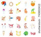 carnival icons set. cartoon set ... | Shutterstock . vector #743832412