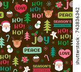 cute christmas elements... | Shutterstock .eps vector #743836342
