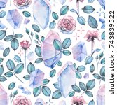cute watercolor seamless... | Shutterstock . vector #743839522