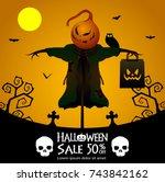 halloween sale offer poster... | Shutterstock .eps vector #743842162