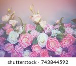 wedding bouquet flower with... | Shutterstock . vector #743844592