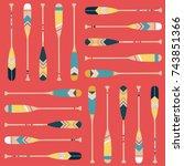 canoe paddle pattern   Shutterstock .eps vector #743851366