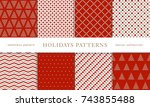 set of winter holiday seamless... | Shutterstock .eps vector #743855488