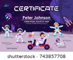 children  certificate or... | Shutterstock .eps vector #743857708