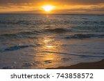 shorebreak foam  ocean water... | Shutterstock . vector #743858572