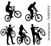lots of people  bicycles  set | Shutterstock .eps vector #74385919