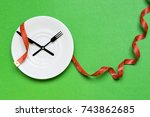 time to eat and diet concept ... | Shutterstock . vector #743862685