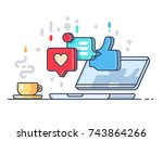 likes and comments on social... | Shutterstock .eps vector #743864266