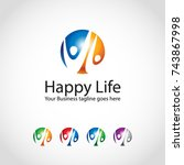 this is a happy life logo used... | Shutterstock .eps vector #743867998