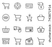 thin line icon set   cart ... | Shutterstock .eps vector #743871916