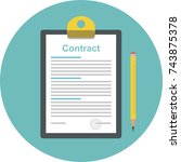 the idea of signing a contract. ... | Shutterstock .eps vector #743875378