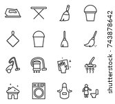 thin line icon set   iron ... | Shutterstock .eps vector #743878642