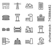 thin line icon set   shop ... | Shutterstock .eps vector #743886682