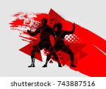 silhouettes of athletes  rugby... | Shutterstock .eps vector #743887516