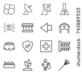 thin line icon set   atom core  ... | Shutterstock .eps vector #743889535