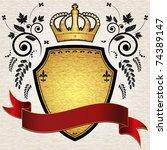 gold vintage emblem with crown... | Shutterstock .eps vector #74389147