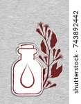 a bottle with essential oil of...   Shutterstock .eps vector #743892442