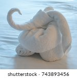 towel animal at bed time | Shutterstock . vector #743893456