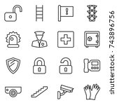 thin line icon set   unlock ... | Shutterstock .eps vector #743896756