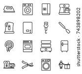 thin line icon set   iron ... | Shutterstock .eps vector #743898202