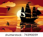 Sunset. Sailing Vessel In...