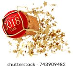 champagne red stopper and star...   Shutterstock . vector #743909482