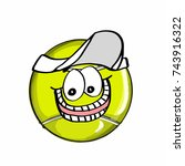cute tennis ball  and hat | Shutterstock . vector #743916322