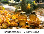 Votive Candles At The Grave...