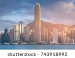 hong kong central business... | Shutterstock . vector #743918992