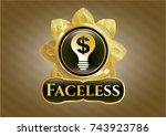 golden emblem with business... | Shutterstock .eps vector #743923786