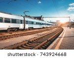 beautiful passenger train at... | Shutterstock . vector #743924668