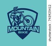 logo mountain bike free ride... | Shutterstock .eps vector #743925412