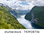 geirangerfjord fjord and the... | Shutterstock . vector #743928736