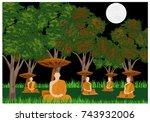 on the full moon five monk... | Shutterstock .eps vector #743932006