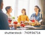happy thanksgiving day  autumn... | Shutterstock . vector #743936716