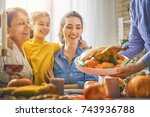 happy thanksgiving day  autumn... | Shutterstock . vector #743936788