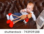 little boy in christmas. a... | Shutterstock . vector #743939188