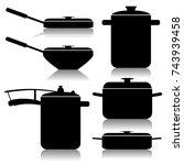 kitchen utensils set | Shutterstock . vector #743939458