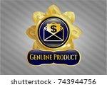 shiny emblem with envelope... | Shutterstock .eps vector #743944756