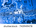 abstract close up of circuits... | Shutterstock . vector #743949478